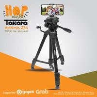 TAKARA ARTEMIS 234 Tripod Fluid Head w/ Built In Phone Holder HP + Bag