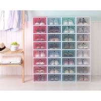 BESAR LARGE Tempat Sepatu Susun Plastik Transparen Rak Kotak Lipat Box