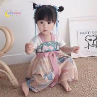 ORI Hanfu Cheongsam Anak Perempuan Imlek Dress Twins Baby Bayi Kembar