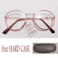Kacamata Baca Plus (+) FREE CASE / KOTAK KACAMATA Pria / Wanita GOLD