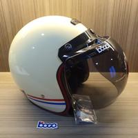 Helm Bogo Retro Force + Kaca Bogo Original + Smart Lock System Cream