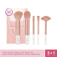 Jacquelle Rose Golden Travel Size Brush Set -Kuas Makeup isi 5