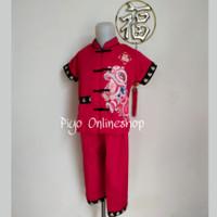 Baju Setelan Cheongsam Satin Imlek Anak Laki Laki (Naga Emas)