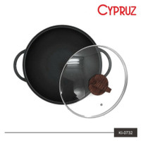 Cypruz Wajan Anti Gore Die Cast 32cm Tutup Kaca glass Lid KI0732