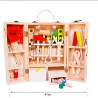 Wooden Construction toolbox / Mainan perkakas alat tukang pretend play