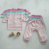 Baju Anak Bayi Setelan Panjang New Born Little Q Baby SNI Polos
