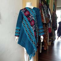 Atasan Wanita Dress Tenun Etnik Blanket Kombinasi Lurik