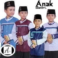 Koko anak laki laki umur 8-15 thun baju muslim lengan panjang - Hijau, 9-10 tahun