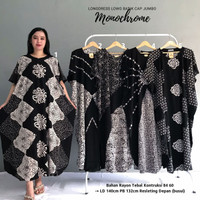 Baju Daster Wanita Batik Jumbo Monocrom LD 140 Murah Long Kaftan Lowo