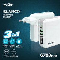 VOLTE BLANCO Tripower Charger 6700mAh (Wireless, Powerbank & Charger)