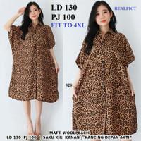 Baju kemeja motif macan coklat leopard busui baju hamil bumil dress