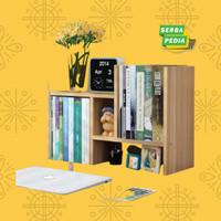 Rak Meja Minimalis Bookshelf DIY Rak Buku Mini Bahan Kayu Serbaguna