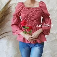 Baju Atasan Perempuan EVE TOP / Blouse Wanita Trendy/ Blouse Sabrina - Abu-abu