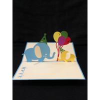 Elephant with Balloon - 3D Gift Card Haiku Kartu Ucapan Ulang Tahun