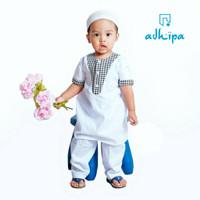 Setelan baju koko turkey/gamis bayi + jegging + peci - Putih hitam, M