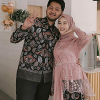 Batik Couple Kebaya Modern Atasan Brukat Wanita Baju Kondangan couple
