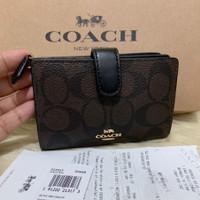 (100% ORIGINAL) COACH Medium Wallet Bifold Compact Signature Mahogany