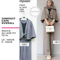 Baju wanita muslimah jumpsuit playsuit cape overall murah terbaru