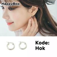 anting ring tindik high quality titanium gypsi hok hoops silver bulat