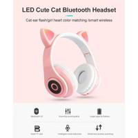 headphone/headseat/bando bluetooth kucing/cat ear lampu led
