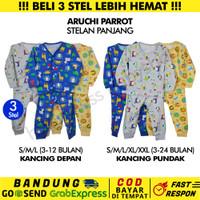 3 Stel-SML/XL/XXL-Aruchi Panjang Baju Piyama Anak Bayi PARROT