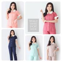 Baju Seragam Suster Tiffany White / Seragam Baby Sitter / Baju Suster - Peach, L
