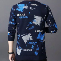 kaos pria baju lengan panjang cowok bahan babyteri baju Urban jungle - navy biru, M