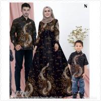 Baju sarimbit gamis motif naga jumbo batik couple keluarga hem anak