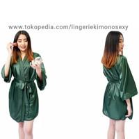 baju tidur piyama kimono wanita dewasa piama tidur satin hijau Sexy