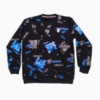 Kaos pria baju lengan panjang cowok bahan babyterry baju Urban Jungle - hitam biru, M