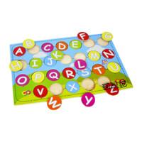 Mainan Edukatif / Edukasi Anak - Balok Kayu Puzzle Sticker Huruf Besar