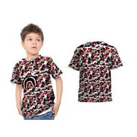 Baju Kaos Anak BAPE SHARK BLACK MAROON Fullprint Sublime