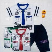 baju setelan anak laki laki gambar polisi usia 6 bulan - 2 tahun