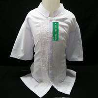 Grosir Baju Koko Muslim Anak Laki - laki Lengan Pendek Bordir Senada - Putih, 15 - 16 tahun