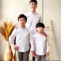 Kemeja Anak Laki Laki/ Kemeja Cauple Ayah Dan Anak Karl & Earl - Putih