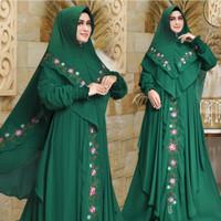 gamis anggiza syari hijau jumbo baju muslim pesta mewah murah ang Tm