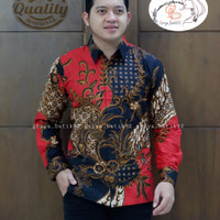 baju pria kemeja hem batik katun lapis furing batik original - M