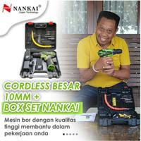 NANKAI 2 BATERAI Cordless Drill bor baterai 12 V ryu charger kenmaster