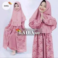 gamis anak perempuan/set laila syar'i kids/baju muslim anak terbaru