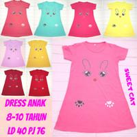 dress / daster anak perempuan / cewek 2-10 tahun aneka gambar cute - SWEET CAT, PINK