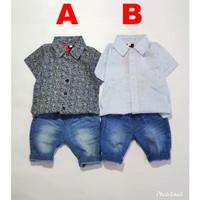 Baju Anak Bayi laki Laki Setelan kemeja Batik adem dan Celana Jeans Bi - Warna A, Ukuran S