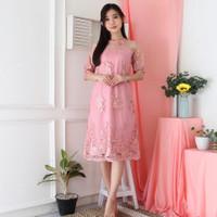 Cheongsam Midi Dress Qipao Modern Baju Imlek Wanita Baby Pink ZCS