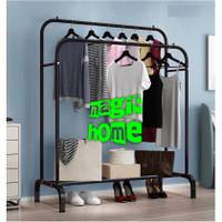 Double Row Clothes Hanger Gantungan Baju Rak Besi DOUBLE Stand Hanger