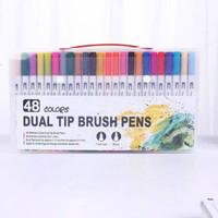 48 Colors Dual Tip Brush Pen Marker Fineliner Marker For Art Designer
