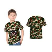 Baju Kaos Anak BAPE SHARK GREEN Fullprint Sublime