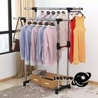 Double Stand hanger Rak besi serbaguna gantungan jemuran baju 4 roda