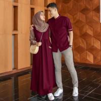 Farel Set Couple Muslim terlaris Baju Pasangan Best Seller Gamis Koko - Navy