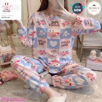 Baju Tidur Wanita Tangan Celana Panjang Piyama Set Import Korea Style