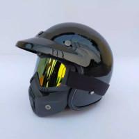 Helm Bogo Retro Classic Google Mask Kacamata Cross Touring - Hitam, M