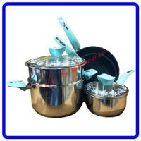 Panci Supra 7pcs Stainless Steel Panci Set Supra 7 pcs Pastel